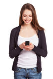 Cheerful girl with a mobile phone Stock Images