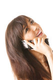 Cheerful girl with mobile phone Stock Image