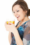 Cheerful girl with mug of beer Stock Image
