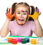 Cheerful girl with painted hands Royalty Free Stock Photo
