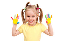 A cheerful girl with painted palms Royalty Free Stock Images