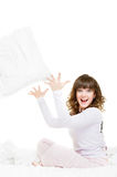 Cheerful girl with pillow Royalty Free Stock Image