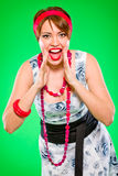 Cheerful girl. Pin up and retro style. Royalty Free Stock Photo