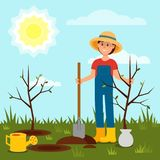 Cheerful girl planting tree. Young woman working in garden. Blue sky and bright sun. Natural landscape. Flat vector stock illustration