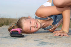 Cheerful girl at play Stock Photo