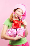 Cheerful girl with presents Stock Images