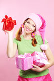 Cheerful girl with presents Stock Image