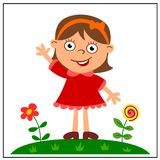 Cheerful girl in red dress on a green meadow with flowers. In cartoon style isolated on white background vector illustration