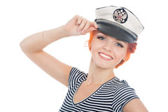 Cheerful girl with red hair sailor Royalty Free Stock Images