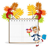 Cheerful girl in school uniform on the background of a notebook Stock Photo