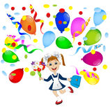 Cheerful girl in school uniform and balloons Royalty Free Stock Photography