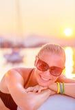 Cheerful girl in sea cruise Stock Photography