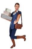 Cheerful girl shopping Stock Photography