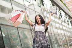 Cheerful Girl With Shopping Bags Royalty Free Stock Photo
