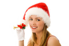 Cheerful girl with a small Christmas pipe Royalty Free Stock Images