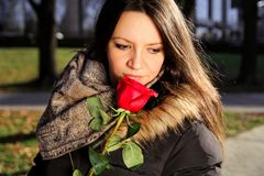 Cheerful girl smells red rose and enjoys the scent Stock Images
