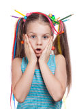 Cheerful girl surprised and scared Royalty Free Stock Photo