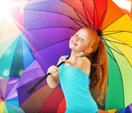 Cheerful girl with an umbrella Stock Photo