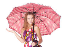 Cheerful girl under umbrella Royalty Free Stock Photo