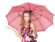 Cheerful girl under umbrella Royalty Free Stock Photo