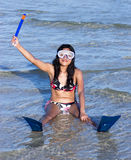 Cheerful girl wants to snorkel Stock Image
