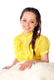 Cheerful girl in a yellow dress Stock Images
