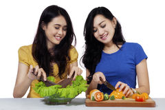 Cheerful girls cooking vegetables salad Royalty Free Stock Images