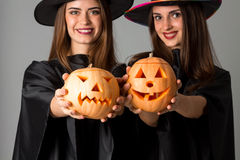 Cheerful girls in halloween style clothes Royalty Free Stock Photography