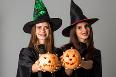 Cheerful girls in halloween style clothes Royalty Free Stock Image
