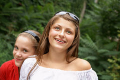 Cheerful girls outdors Royalty Free Stock Image
