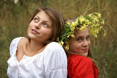 Cheerful girls outdors Royalty Free Stock Images