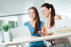 Cheerful girls social networking. Cheerful cute girls at desk using a laptop and social networking, they are enjoying and smiling Royalty Free Stock Photography