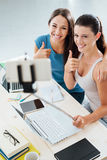Cheerful girls taking selfies at home Royalty Free Stock Photo