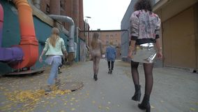 Cheerful girls walking in the city park. Hipster girls walking in the street. Sexy girls go to the club, rear view. 4K stock video footage