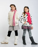 Cheerful girls in a winter clothes Royalty Free Stock Image
