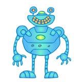 Globular robot. Cheerful globular blue robot vector illustration. Original cartoon retro character Stock Image