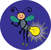 Cheerful glowworm personage. Electric lamp.The light in the dark. Royalty Free Stock Photos
