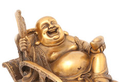 Cheerful Golden Hotei. Stock Photos