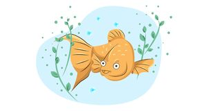 Cheerful goldfish swims in the water among the algae royalty free stock photos