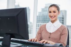 Cheerful gorgeous businesswoman working on her computer Royalty Free Stock Images