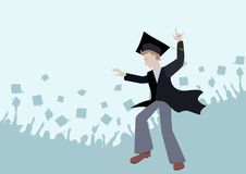 Cheerful graduate in a mantle and a cap of the master. graduating from College or University stock illustration