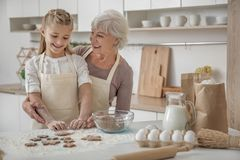 Cheerful grandmother teaching child to cook Stock Photos