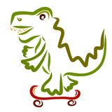 Cheerful green crocodile on skateboard, sports and funny animals.  stock illustration