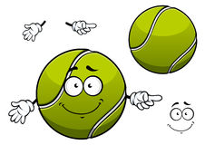 Cheerful green tennis ball cartoon character Stock Images