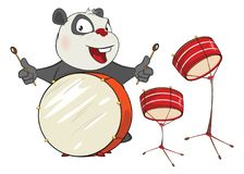 Illustration of a Cute Panda Drummer. Cartoon Character. The cheerful grey panda the musician plays drums Royalty Free Stock Image
