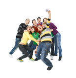 Cheerful group. Group of friends taking a picture of themselves and cheering Royalty Free Stock Image