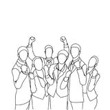 Cheerful Group Of Business People Holding Raised Hands Happy Successful Team Doodle Silhouettes Royalty Free Stock Photos