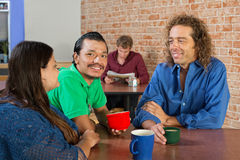 Cheerful Group in Cafe Royalty Free Stock Image