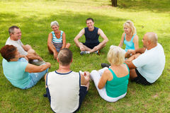 Cheerful group enjoying in the nature. Royalty Free Stock Images