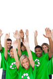 Cheerful group of environmental activists raising arms Stock Photos